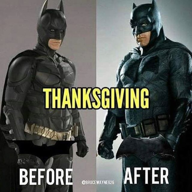 Accurate. ▪️ Happy #thanksgiving everyone from at Superheroes4hire and Wayne Productions. • #batman #fatman