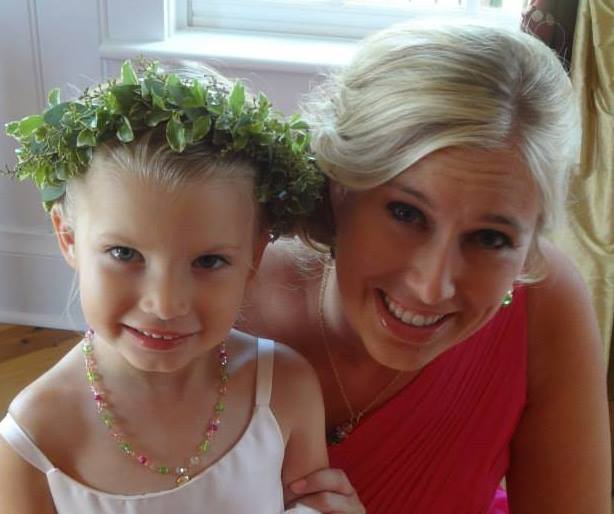 Bridesmaid and her daughter the flower girl wearing Glitter bracelet and a matching necklace.