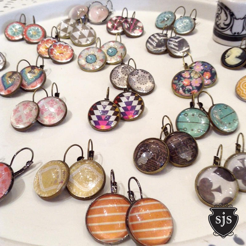 Multiple fun print Sparkle CAB earrings