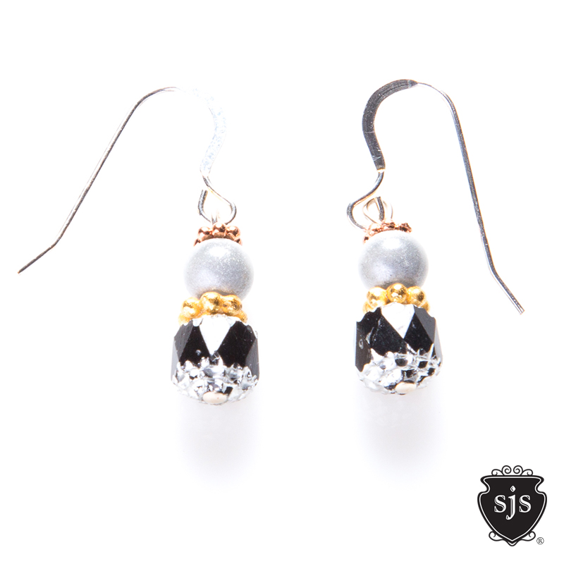 Sparkle Earrings in Cathedral Black and white