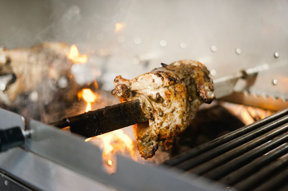 Our now award winning rotisserie Juicy Jerk Chicken
