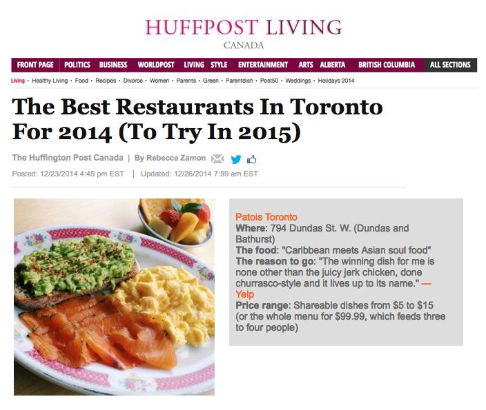 HuffingtonPostCanada-PatoisBestRestaurantToronto2014