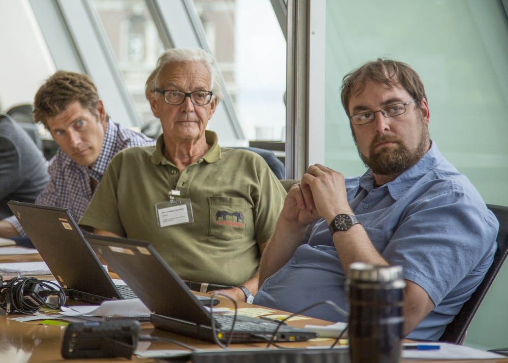 From left, Frank Pope and Ian Douglas-Hamilton of Save The Elephants, an Stuart Graham of Vulcan Inc. were among the experts that gathered in Seattle recently to discuss wildlife tracking technology.