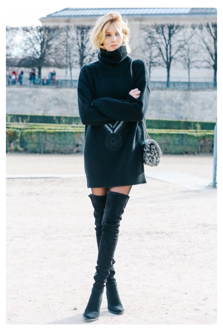 Tall boots and oversized turtleneck dresses are sure to not disappoint this Fall