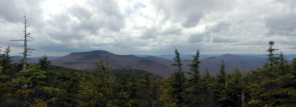 View from the summit of Cornell of Slide Mountain (left-most peak) and Panther Mountain (right-most peak)