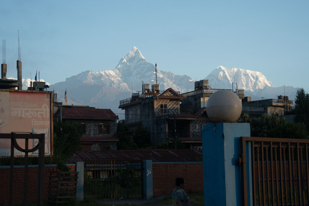 Machapuchare looming over Pokhara, Nepal
