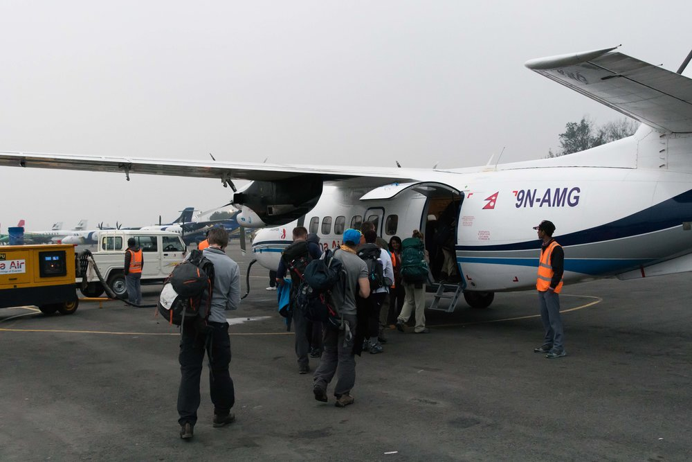 Boarding the plane to Lukla