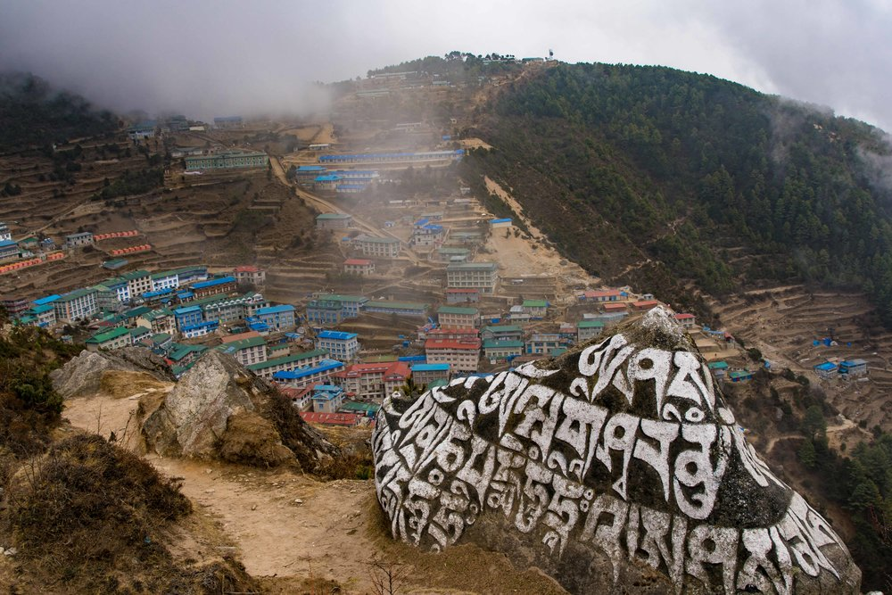 Namche Bazar viewed from above the town's monestary