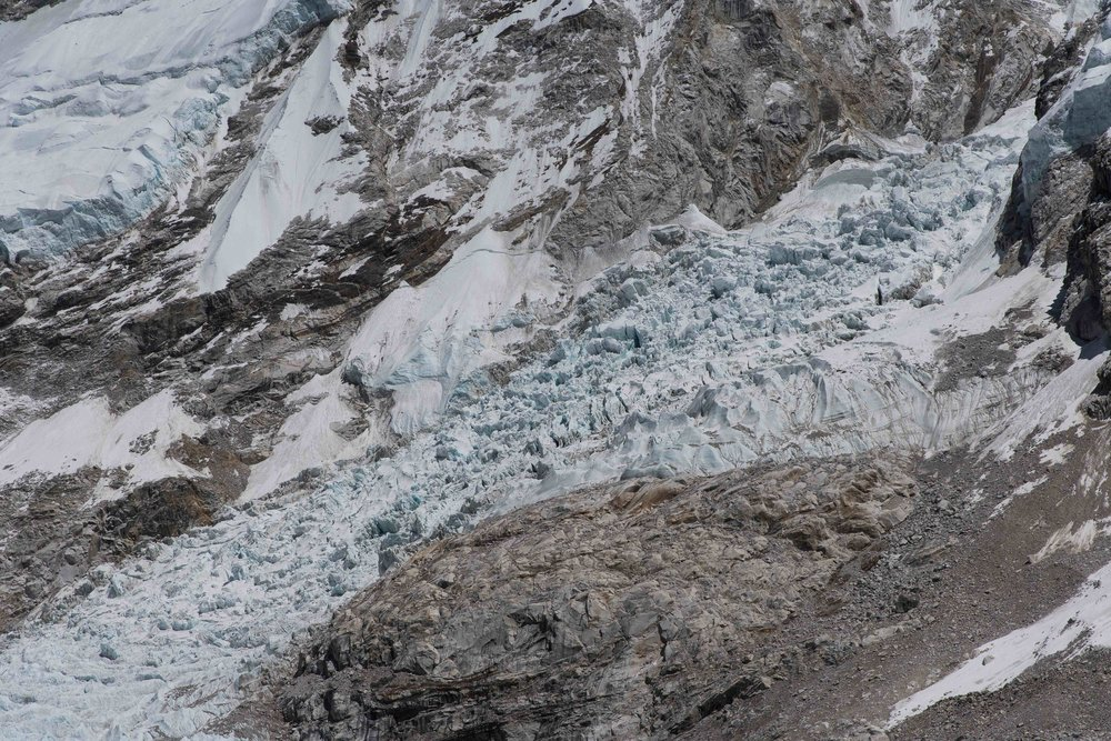 The deadly Khumbu Glacier Ice Fall.  We have to climb through that pile of seracs six times.