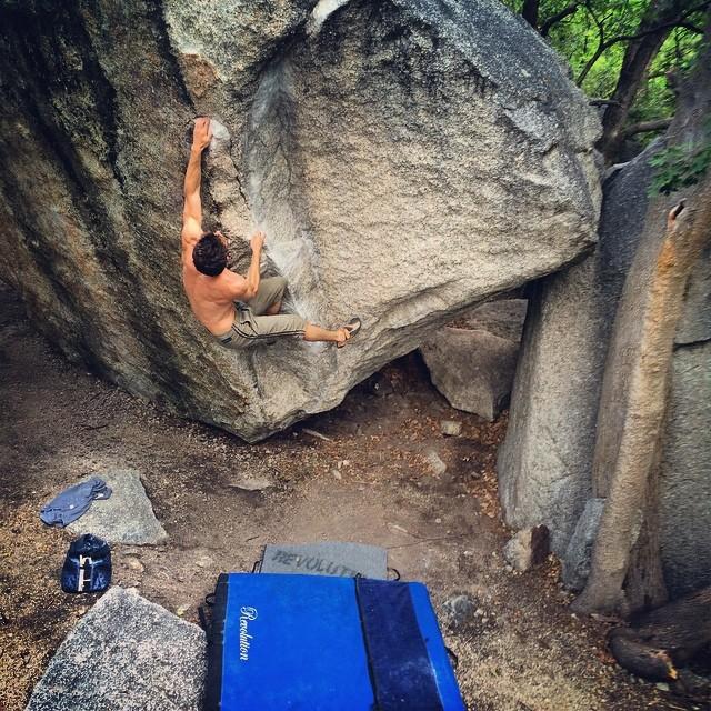 Jonny Hork (@jonnyhork) battles the summertime heat in Little Cottonwood Canyon, Utah.  #bouldering #revogram #missionpad #climbing