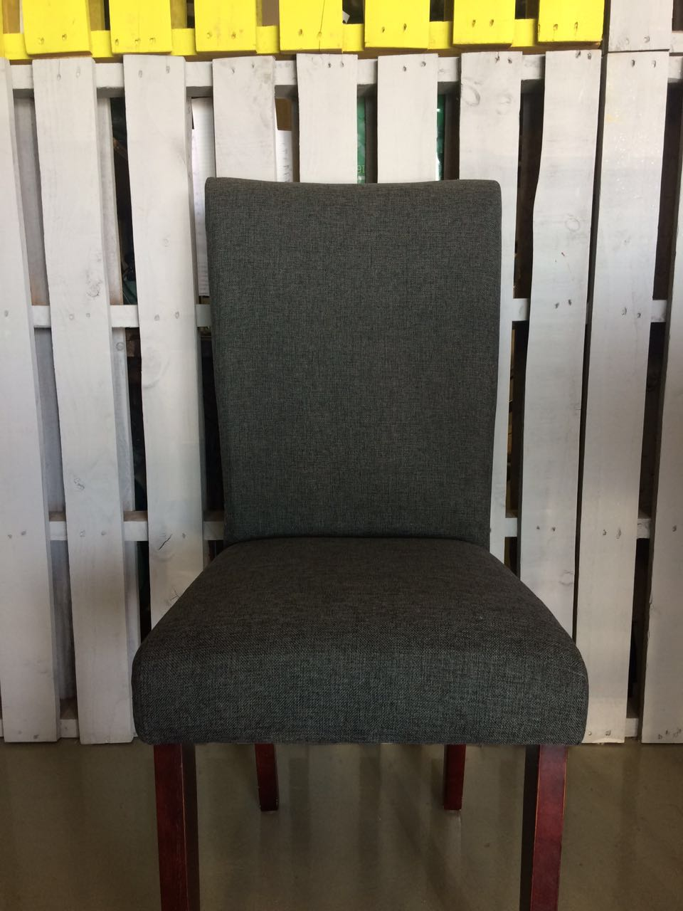 Grey weave fabric on contemporary dining chair 1.JPG