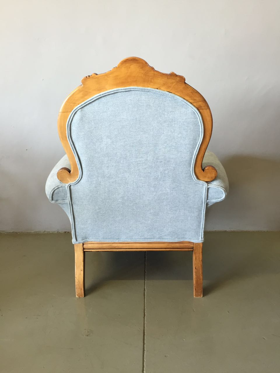 Re-upholstered Antique chair with belly cushions