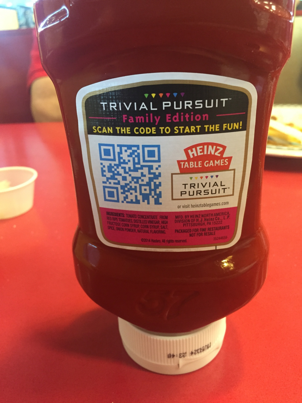 Heinz Ketchup with QR Code for Trivial Pursuit Family Edition