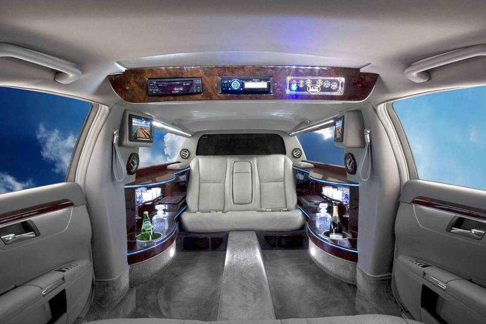 "Mercedes S550 Limousine shown with 70"" interior conversion."