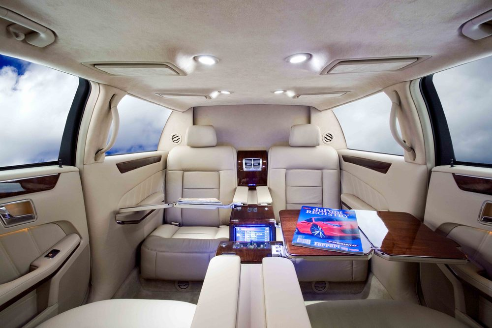 Mercedes S550 Limousine shown with OEM style interior.