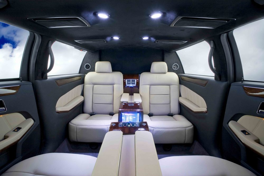 Mercedes S550 Limousine shown with OEM style two-tone interior.