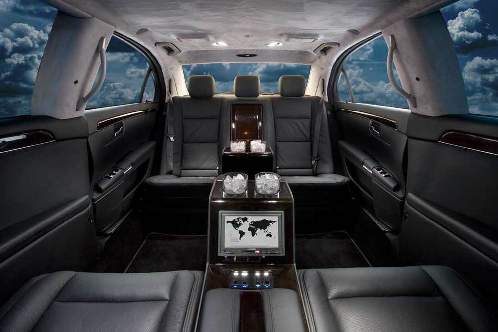 Mercedes S550 Limousine shown with center consoles and pioneer radio.