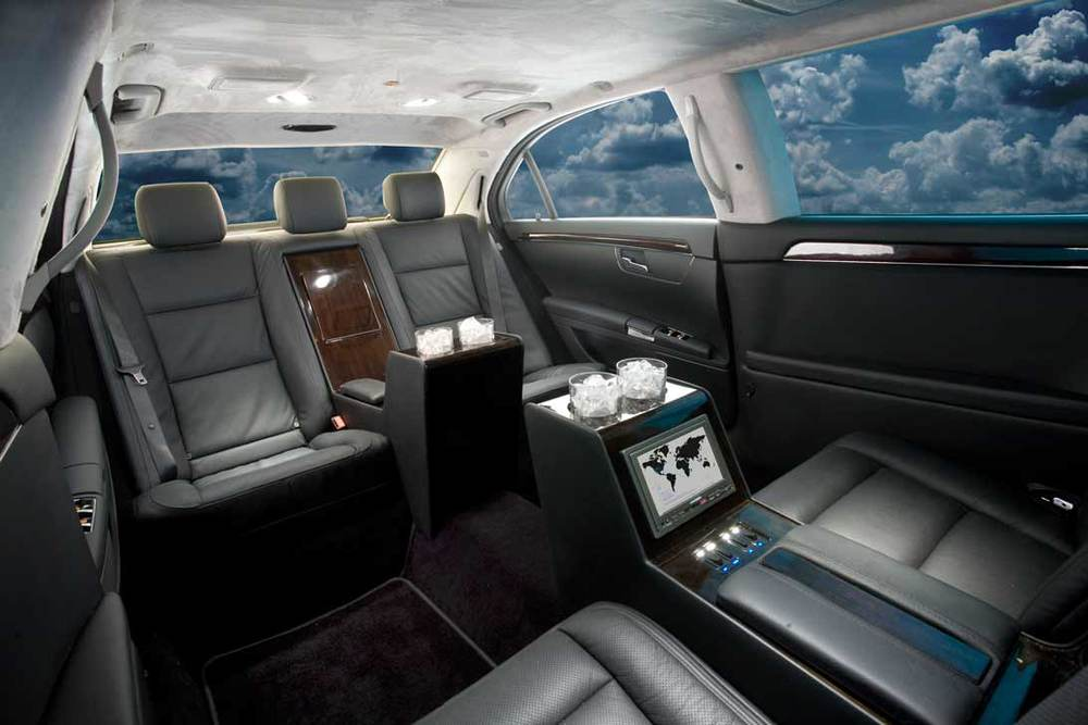 Mercedes S550 Limousine shown with suede headliner.