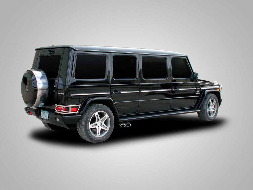 "Mercedes G-Wagon Limousine shown with 48"" stretch"