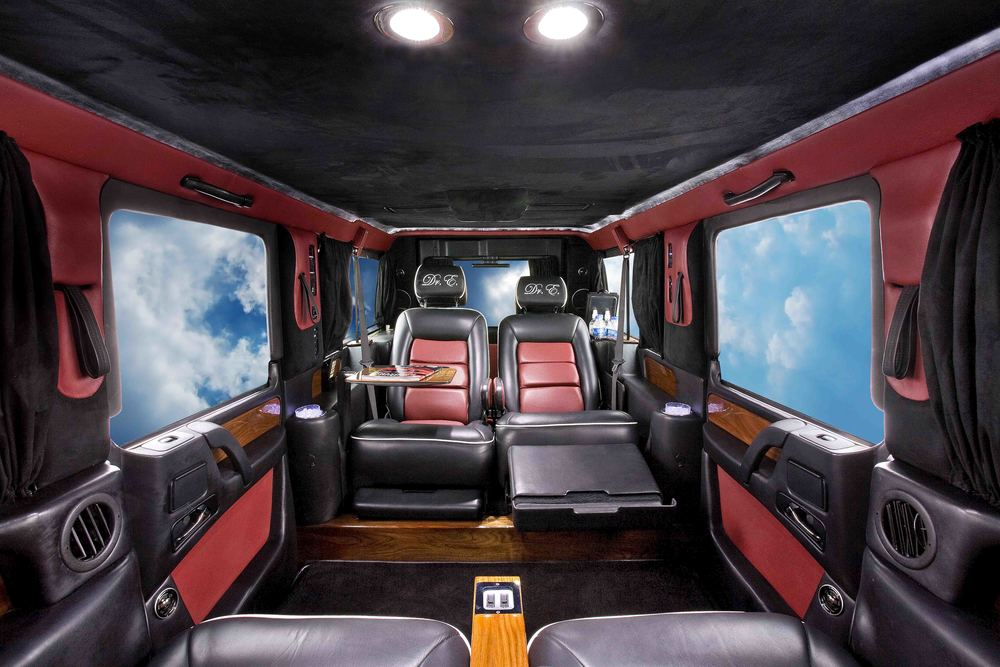 Mercedes G-Wagon Limousine shown with electric reclining captain seats.