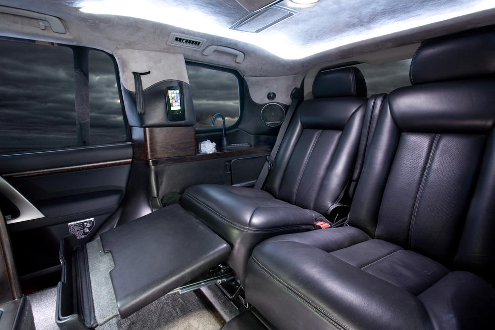 Toyota Land Cruiser CEO Conversion shown with optional electric foot rest.