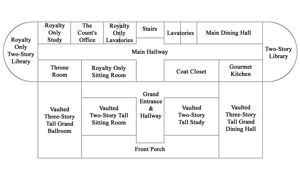 Floor plan for the main or first floor of the HCC Mansion.