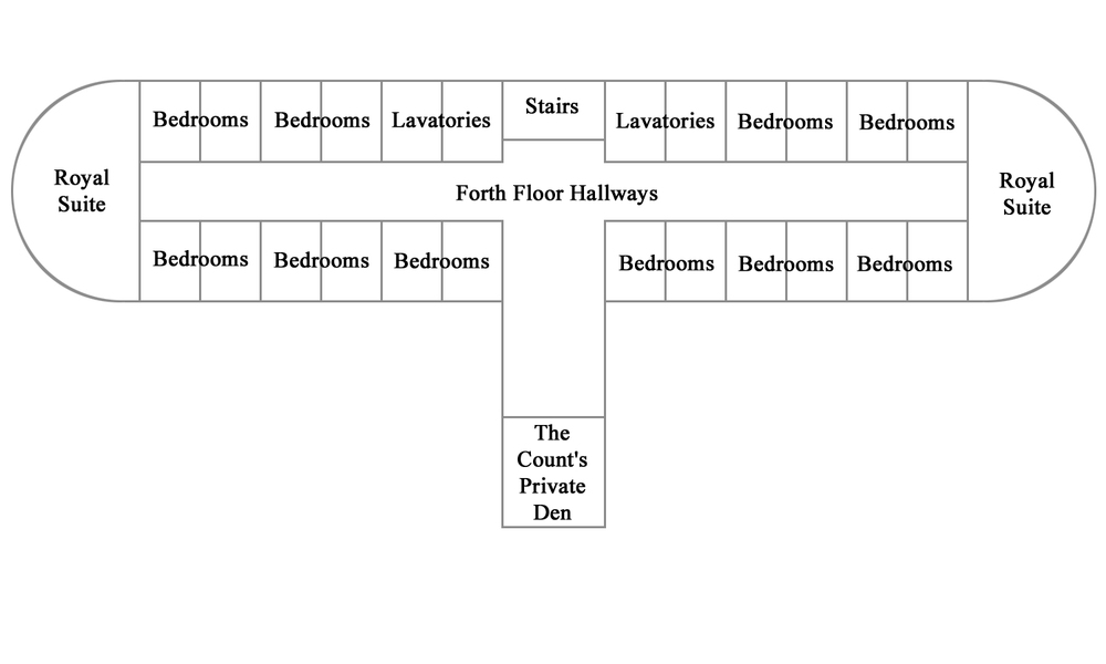 Floor plan for the fourth floor of the HCC Mansion.