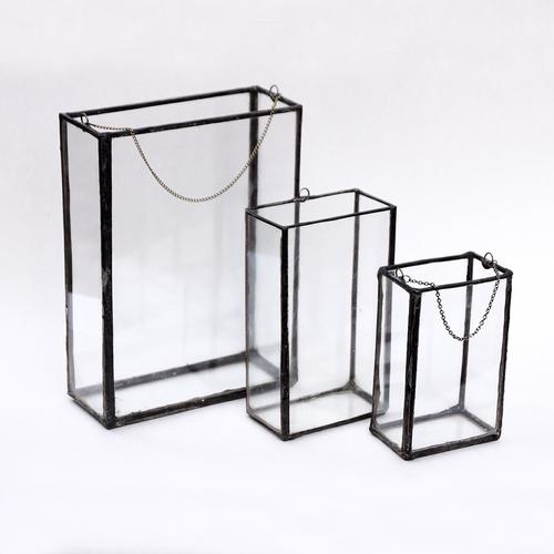 Vertical Rectangle Terrarium Vase Window Box Copper Torch