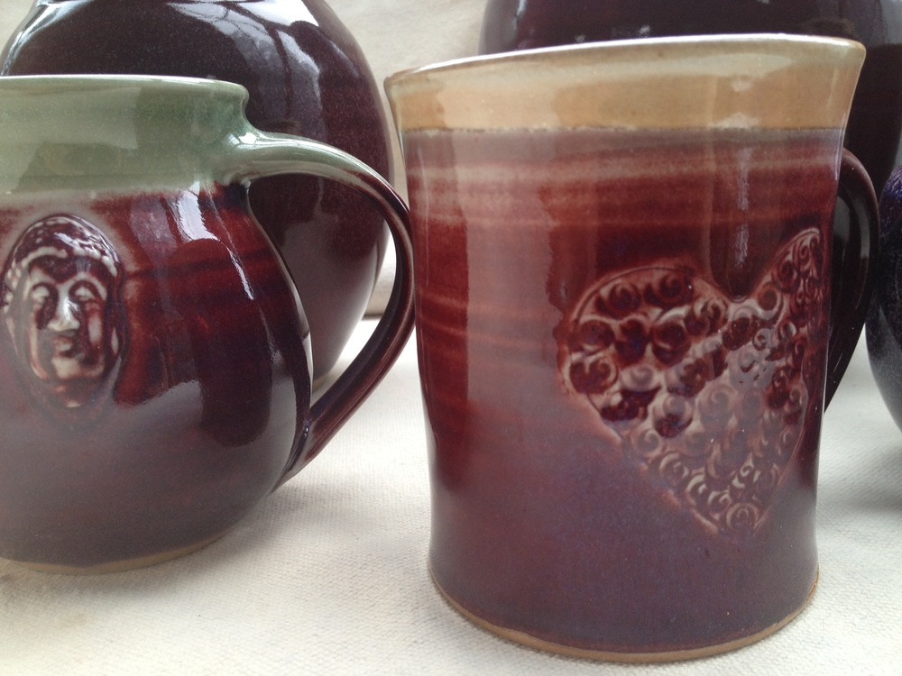 Copper red stamped mugs