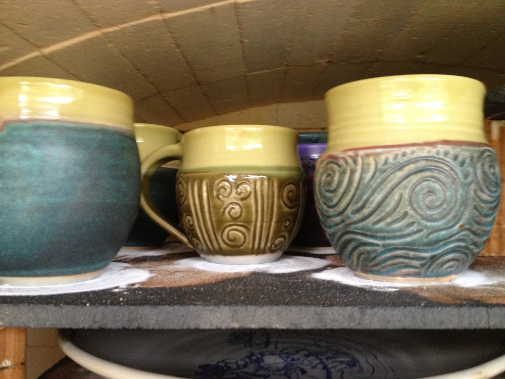 Mugs still in the kiln