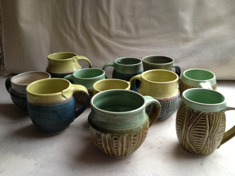 Carved & stamped mugs