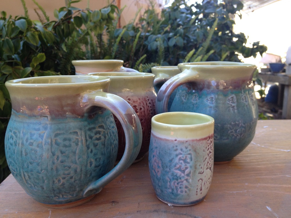 Indonesian stamped mugs
