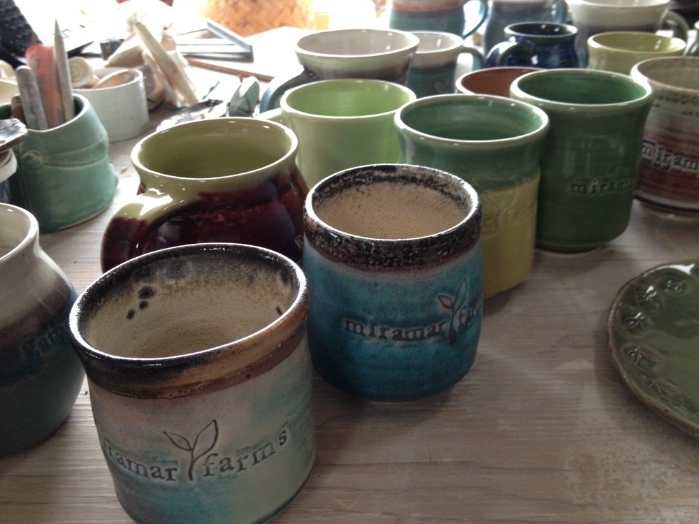 Miramar Farms logo teacups and mugs