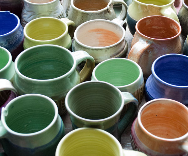 A kiln's worth of colorful mugs
