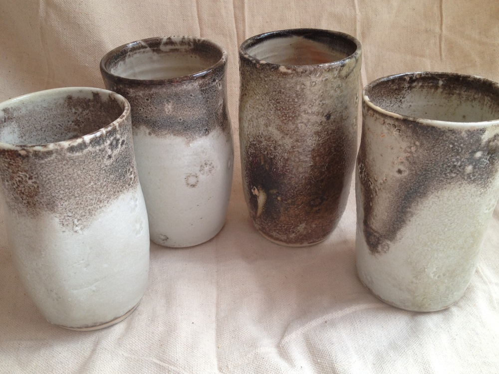 Porcelain shino beer tumblers