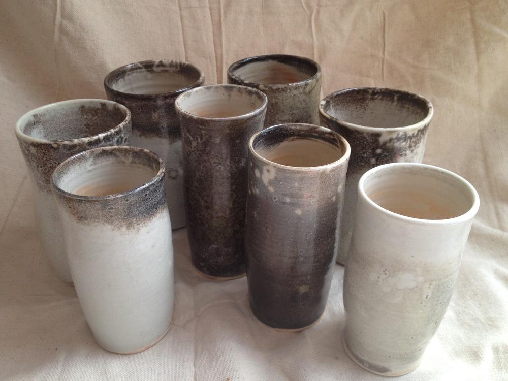 Porcelain shino tumblers