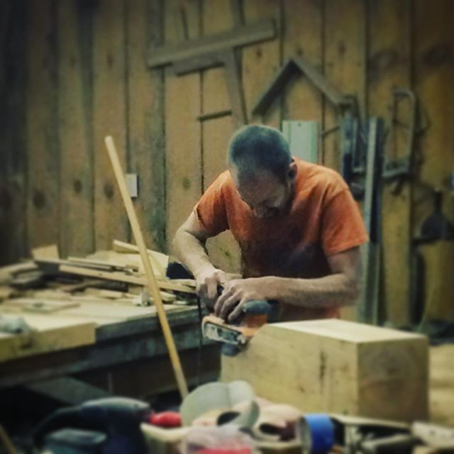 @bydoing killin it in the shop...thx buddy for the help n see ya on the next one! #cayugajoinery #timberframing #whiteoak