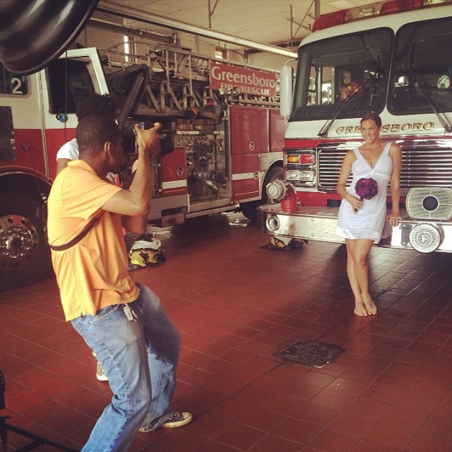 Bridal photoshot at the fire department!