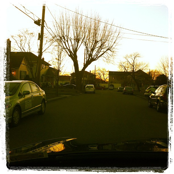 X-mas eve through the windshield.  (Taken with  instagram )