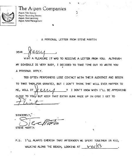 A personal letter from Steve Martin. via 1.bp.blogspot.com