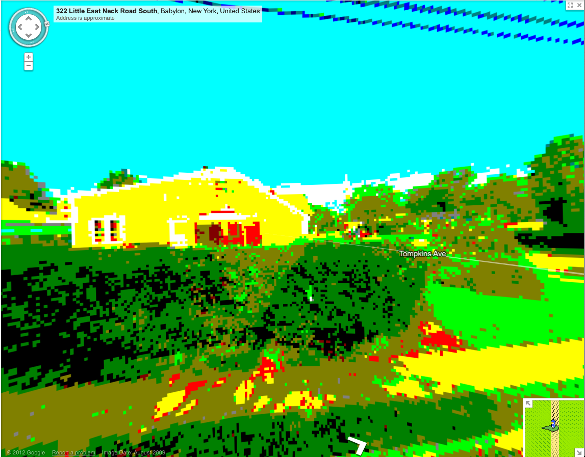 "The view from the end of my street in the new Google Map  ""8-bit mode"".      I do enjoy the internet on April 1st."
