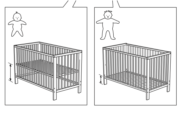 Great Moments in Semiotics: Ikea Edition    Having just inherited a crapton of Ikea baby furniture, I noticed this particularly clever graphic in the crib instructions. I defy you to find a more elegant graphic to connote the differences in the appropriate height setting for your infant as compared to your toddler.