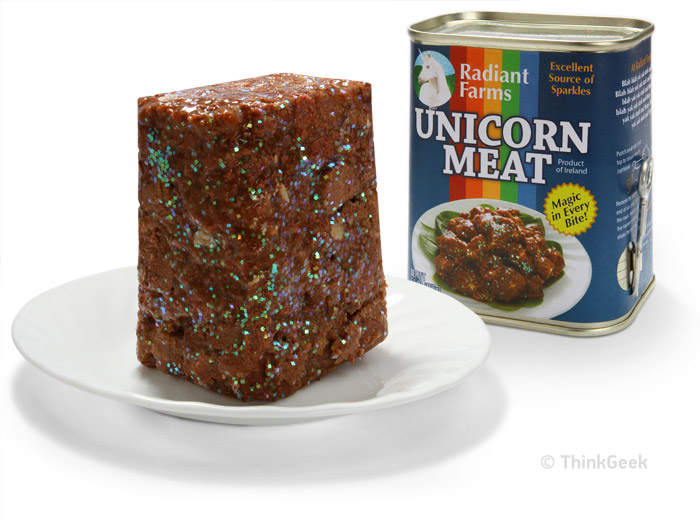 The thing that separates a Radian Farms unicorn from the product of one of the larger, more industrial unicorns is Radiant's insistence on using only the best quality unicorn feed….and of course, the sparkle content of their unicorn meat.    via   www.thinkgeek.com