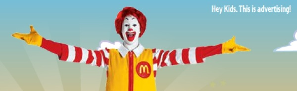 Hey Kids.  That clown is actually 42% high fructose corn syrup! via www.boingboing.net