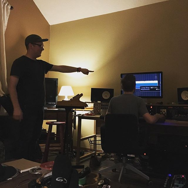 Still going!  These are long, but fun and amazing days being on the journey with these songs.  Cannot express how thankful we are for people who put in long hours of tedious work to make this stuff happen. @joshsebren @psychomikeo and thankful for friends who stop in for dinner @jakesebren And end up helping us lay tracks down and have great ideas! #JesusIsGreater #Forgiven #OurKingIsComing