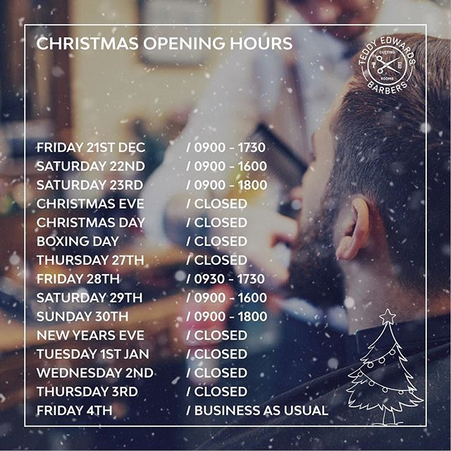To all of our customers, here are the Christmas opening times throughout December. Please note this year we are open on Sunday the 23rd and Sunday the 30th but are closed on both of the respective 'eve's'. Bookings are going fast, so click the link in the bio to secure your spot.