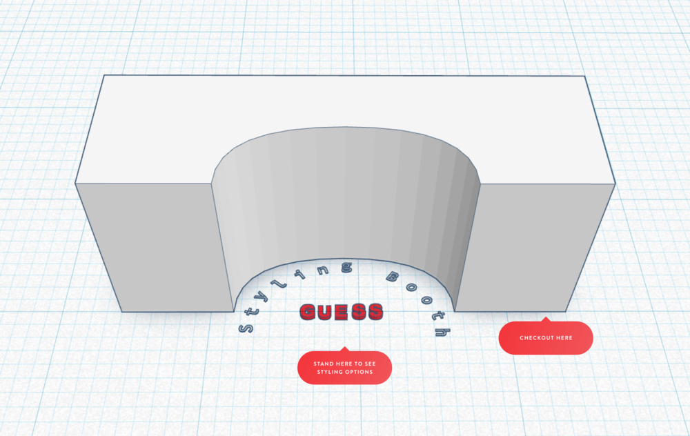 A quick comp to show what the new layout of the fitting room might look like, and how the customer would interact with it.