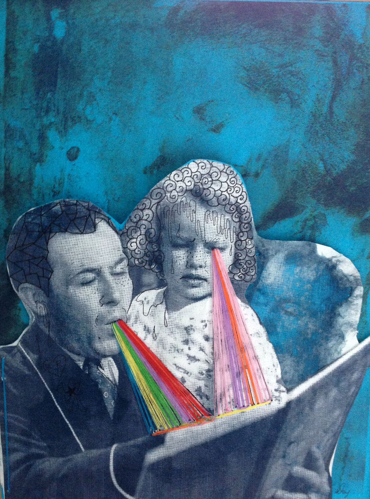 "Darcy Yates - ""Read me the Rainbow""      darcyyates :     Read me the rainbow    Mix Media/Sewing   8x10"