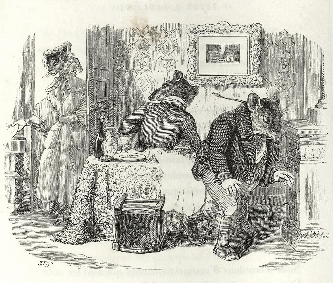 my-ear-trumpet :      oldbookillustrations :      The City Rat And The Country Rat , by JJ. Grandville. From  Fables de La Fontaine  book 1, by Jean de La Fontaine, Paris, 1855.  Via  archive.org