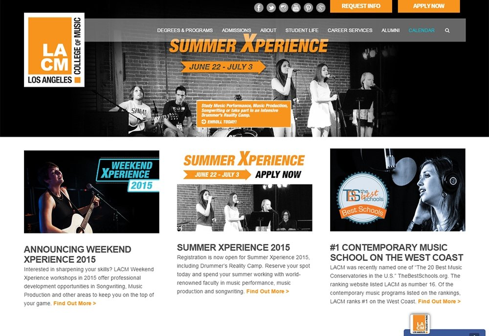 "I coordinated facelift of  www.lacm.edu  homepage and developed strategy to update website content to promote new ""LACM Online,"" ""Weekend Xperience"" and ""Summer Xperience"" programs, and new brick and mortar programs in Brass & Woodwinds and Music Business. Updated website copy and imagery to more effectively market LACM Bachelor, Associate and Diploma programs. Developed downloadable informational materials to supplement webpage content and developed blog content strategy. Integrated SEO keywords into copy and metadata. Design and web development was facilitated by consultant teams at Plastic Palmtree, Inc and SSD Solutions."